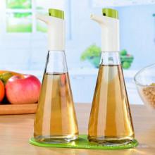 Aceite de oliva y pulverizador de vinagre botella de vidrio con control de flujo ajustable para la cocina de cocina