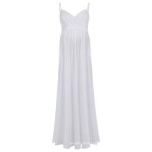 Kate Kasin Sexy Womens Coussinets Spaghetti confortables V-Neck White Maxi Maternity Dress KK000674-2