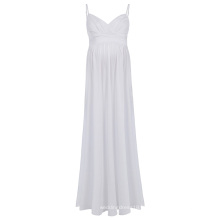 Катя Касин сексуальные женские удобные бретельках V-образным вырезом Белый Макси платье материнства KK000674-2