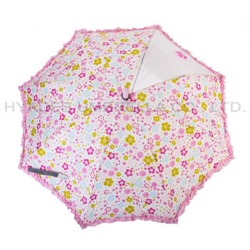 Ruffle Lace Reflective Kids Safety Open Umbrella