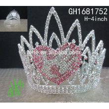 Los nuevos accesorios reales del rhinestone de los diseños venden al por mayor la corona cristalina de encargo del desfile