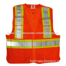 110gsm mesh fabric high visibility vest in lime/orange, conforms to ANSI class 2