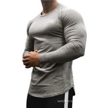 T-shirts de compression musculaire d'entraînement à col rond