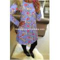 Mode O cou violet imprimé coloré robe de Noël concepteur européen vêtements femmes