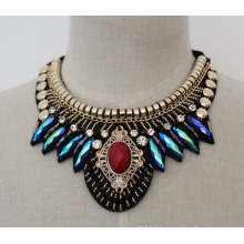 Lady Beaded Crystal Fashion Costume Choker Necklace (JE0013)