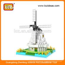 LOZ Moinho de diamante em miniatura modelos de arquitetura em miniatura, conjunto de construção
