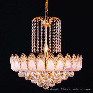 Lustre en cristal de luxe d'or antique de vente chaude pour le salon LT-70103