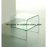 Glass End Table / Glass Shelf for Hotel / Clear Tempered Glass (TX-0718)