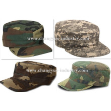 Camo design wholesale fitted flat-top cadet army cap hat