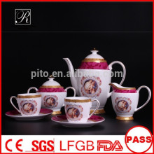P & T fábrica de porcelana fábrica de chá de porcelana, conjunto de café, copos de café e pires