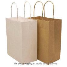 Kundenspezifisches Logo druckte Brown-Fertigkeit-Geschenk-Einkaufen-Papiertüte