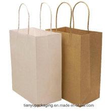Logo personnalisé Printed Brown Craft Gift Shopping Sac en papier