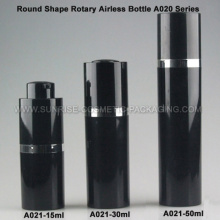 15ml 30ml 50ml Round Rotary Black Airless Bottle
