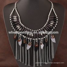 colorful feather tassel designs crystal beads fashion necklace 2016