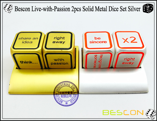 Bescon Live-with-Passion 2pcs Solid Metal Dice Set Silver-7