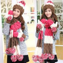 Moda tejida a mano invierno cálido lana sombrero bufandas guantes conjunto