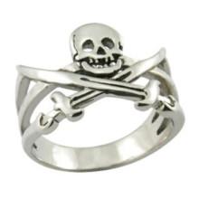 Edelstahl-Ring-Art- und Weiseschmucksache-Schädel-Ring-Piraten-Ring