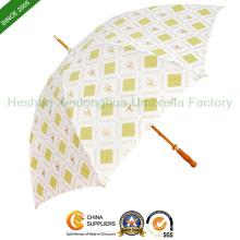 Werbeartikel aus Holz gerade Regenschirm mit Qualität Fiberglas Rippen (SU-0023WF)