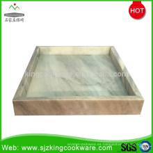 Bandeja de servir de té de frutas de comida de mármol gris piedra natural