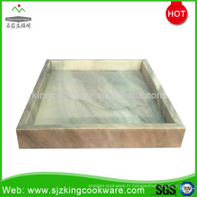 Plateau de service de thé de fruit de nourriture de marbre gris en pierre naturelle
