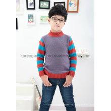 Karen Striped-Sleeve Diamond Rib punto cuello redondo Ropa niños
