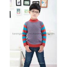 Karen Striped-Sleeve Diamond Rib Knitted Crew Neck Children Clothes