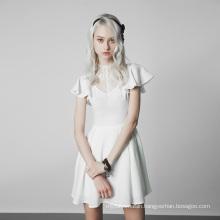 OPQ-333  PUNK RAVE  Gothic Lace Stitching V-collar Dress casual dress women