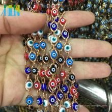 Chaîne de perles de chapelet de fil de métal d'oeil maléfique de Turquie d'or-bordée