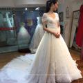Vestido de boda nupcial de las muchachas magníficas del tren de la flor magnífica del hombro de China