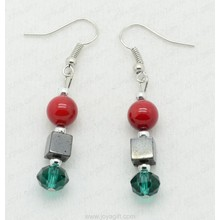 Red Coral Crystal hematite earring
