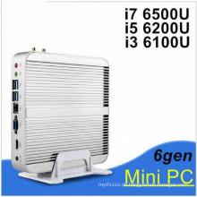 Lüfterloser PC Nettop 6. Gen Skylake Windows 10 Geschäft Mini PC mit Kern I3 6100u I5 6200u I7 6500u 6600u 4k VGA HDMI HTPC WiFi