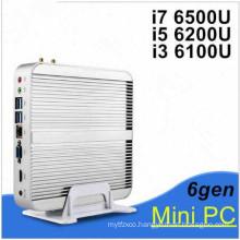 Fanless PC Nettop 6th Gen Skylake Windows 10 Business Mini PC with Core I3 6100u I5 6200u I7 6500u 6600u 4k VGA HDMI HTPC WiFi