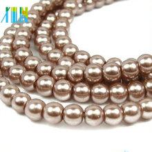 Perles de verre de cristal brillant de forme ronde de qualité supérieure