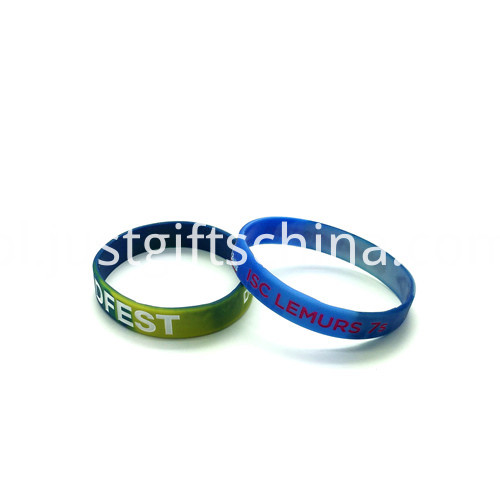 Promotional Camoflauge Debossed Color Infil Silicone Wristbands2