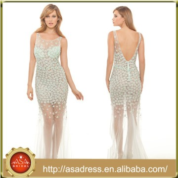 XPD11 See Through Tulle Party Dress Long Sleeveless Illusion Neckline Crystal Luxurious Prom Gowns