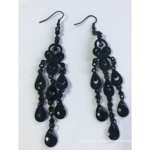 Black Metal Earring with Tassel