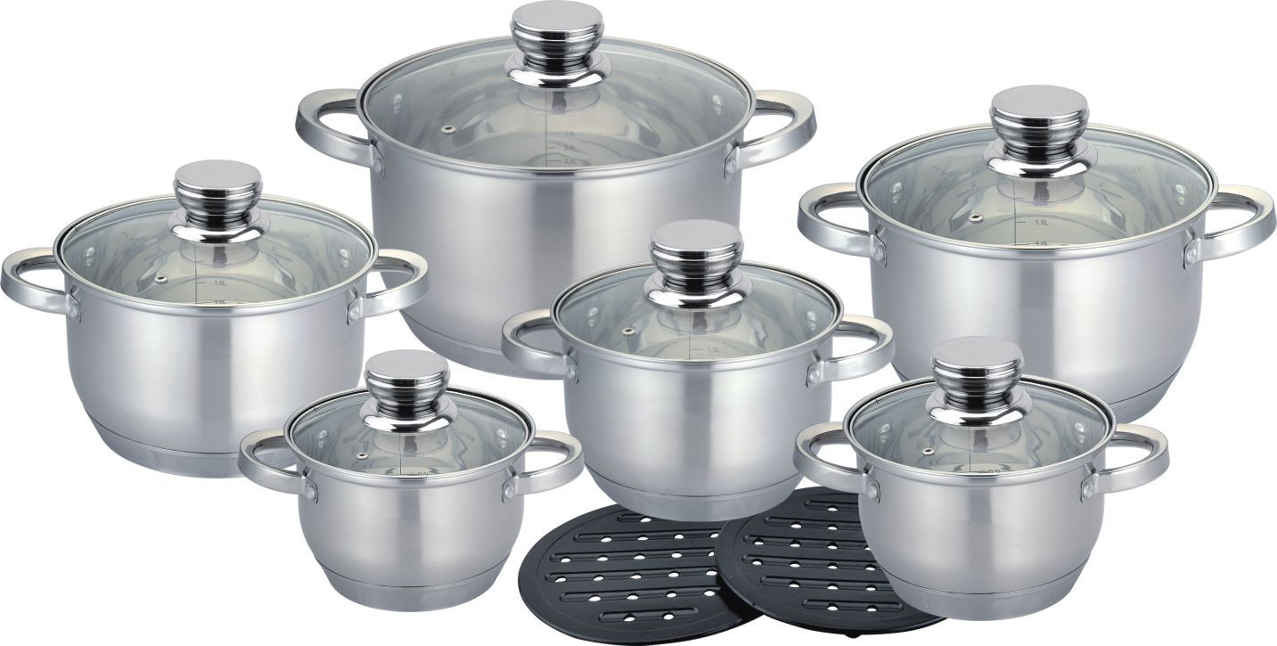14pcs Saucepot with glass lid