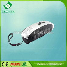 Camping utilização 3 LED mão manivela dinamo lanterna recarregável rádio com lanterna
