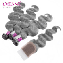 Color Grey Brazilian Body Wave Hair Bundles with Lace Closure