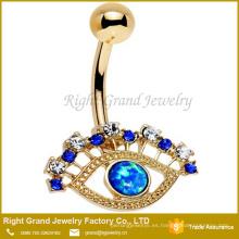 Anillo para el ombligo del ojo de ópalo sintético azul multicolor plateado oro quirúrgico