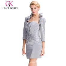 Grace Karin longitud de la rodilla vestido de noche gris corto para las personas mayores vestido de 2 piezas con chaqueta CL3826