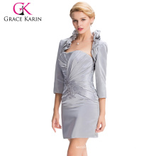 Grace Karin Knee Length Grey evening dress short for seniors 2 pieces dress with jacket CL3826