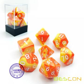 Bescon Gemini Polyhedral Dice Set Saffron, Two Tone RPG Dice Set of 7 d4 d6 d8 d10 d12 d20 d% Brick Box Pack