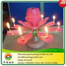 -Birthday-Music - Rose-Candle On Cake -Fuego de trabajo -