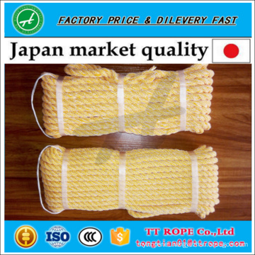 Japanese quality 3 strands kp twisted rope made from pe monofilament and polyester yarn