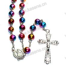 Collar de cristal colorido del rosario de la cadena