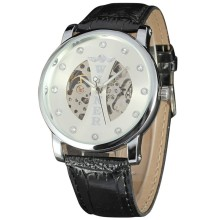 elegant women watch with diamond setting winner mechanical watch