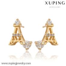 91129-Xuping Trendy Torre Eiffel Design Brincos De Cristal Da Liga De Ouro