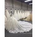 Recém-chegados luxo manga longa vestido de baile muçulmano casamento vestido branco