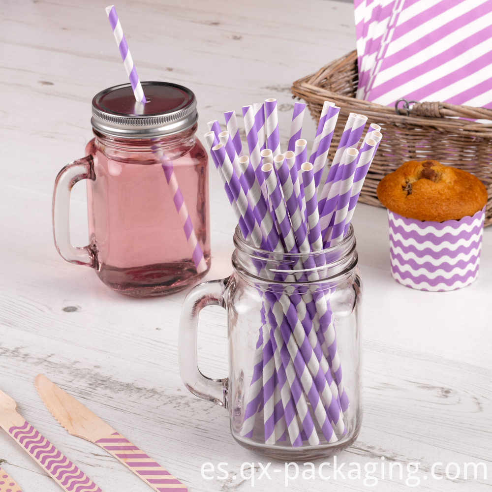 Purple And White Straws